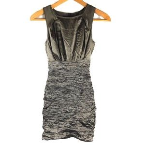 Nicole Miller Silk Silver Textured Bodycon Dress